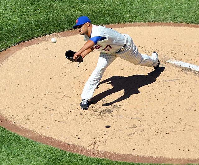 Johan Santana threw his first major-league pitch in 581 days: an 87-mile-per-hour fastball for a ball to Braves leadoff hitter Michael Bourn. Santana ended up tossing five shutout innings, giving up two hits and two walks and striking out five.