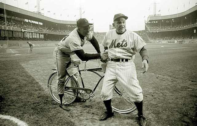 San Francisco Giant Willie Mays with New York manager Casey Stengel during a May 1963 game at the Polo Grounds.