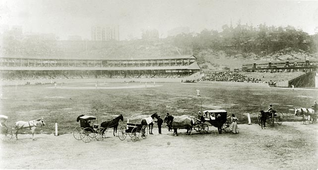 Horse-drawn carriages serve as the stadium's outer boundary in this photo, taken before the final edition of the ballpark -- there were four in total -- was built in 1911. Polo Grounds I hosted its first Major League Baseball game in 1883 and closed in 1888 when it was seized by New York City for construction. Polo Grounds II was only open for one year, serving as the Giants temporary home before Polo Grounds III could be finished on adjacent ground. The third edition of the stadium stayed open until 1911, when a fire destroyed the structure and forced the Giants to build Polo Ground IV on the same site.