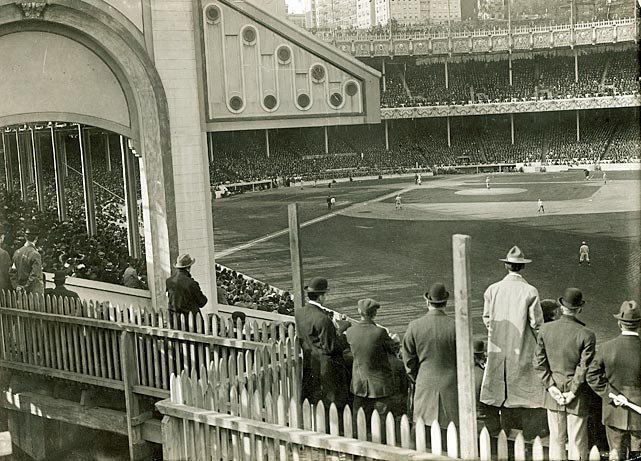 The view from the Polo Grounds' right field bleachers. The stadium was renamed Brush Stadium in honor of then-Giants owner John Brush in 1911, but switched back to the Polo Grounds when Brush died in 1912.