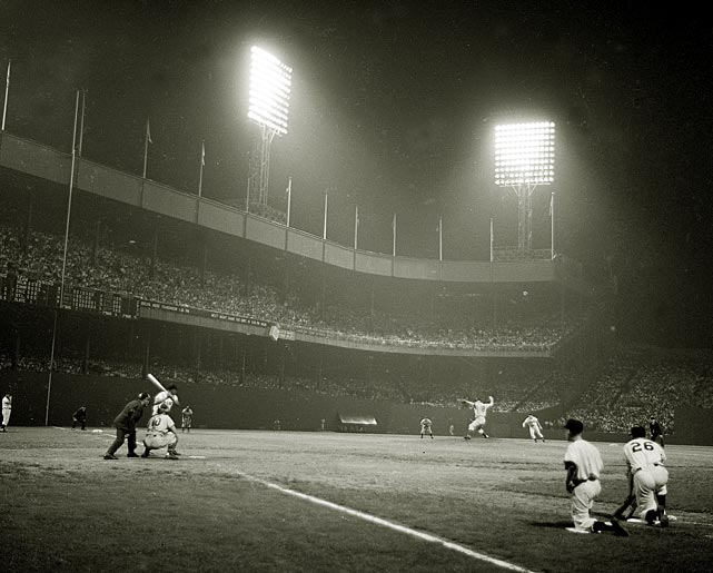 A shot of a night game between the Giants and Dodgers in 1954. The Giants played their first night game at the Polo Grounds on May 24, 1940.