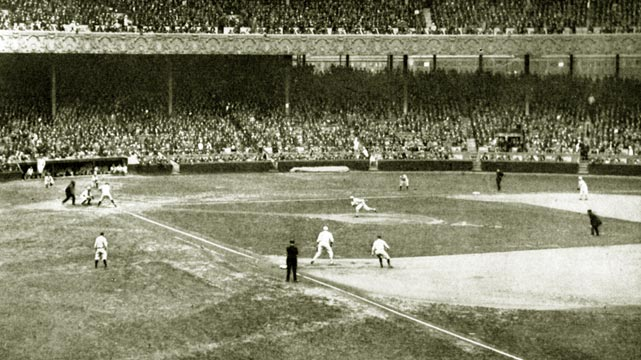 Babe Ruth bats during the fourth inning of a 1922 World Series game at the Polo Grounds. The Giants beat the Yankees in five games, winning four games to none with one tie.