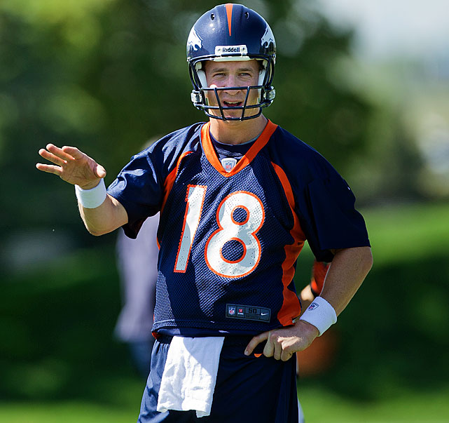 Manning plans to retire as a Bronco after signing a five-year, $96 million deal.  He's got two trips to the Super Bowl and one title, 11 Pro Bowls and was the fastest player to reach 50,000 yards and 4,000 completions. His first TD toss for Denver will be his 400th.  Manning's familiar No. 18 was actually retired - a tribute to Denver's first quarterback, Frank Tripucka. But Tripucka was more than happy to let Manning bring it out of mothballs.