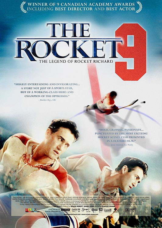 Rather than belabor the social context of English-French tensions in the 1940s, The Rocket simply immerses you in them as it examines the larger importance of  Maurice Richard beyond the rink. Roy Dupuis won a Genie (Canadian Oscar) for capturing Richard and his smoldering intensity. Look for cameos from  Vinnie Lecavalier, Sean Avery, Ian Laperriere and several other NHLers.