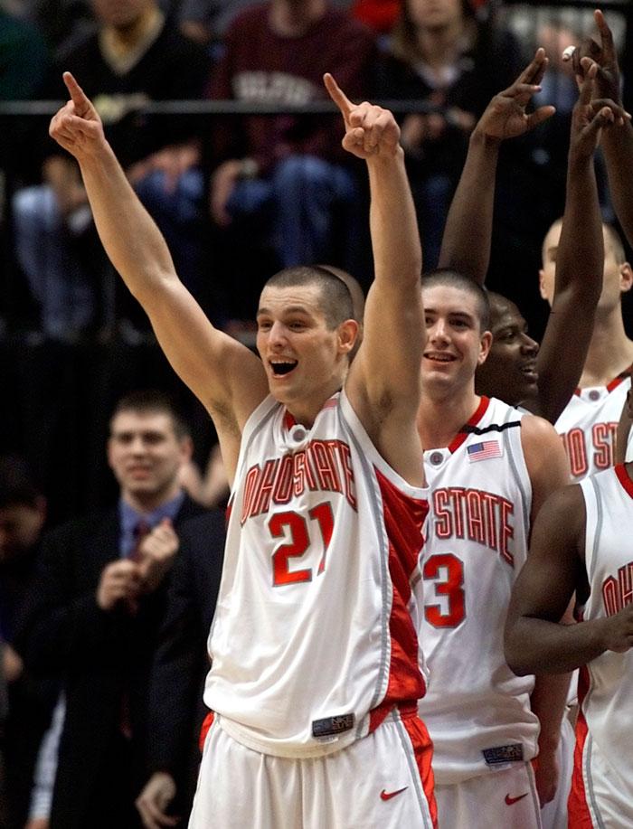 Boban Savovic celebrates winning the championship game of the 2002 Big Ten Tournament. Ohio State defeated Iowa 81-64 and Savovic was named tournament MVP.