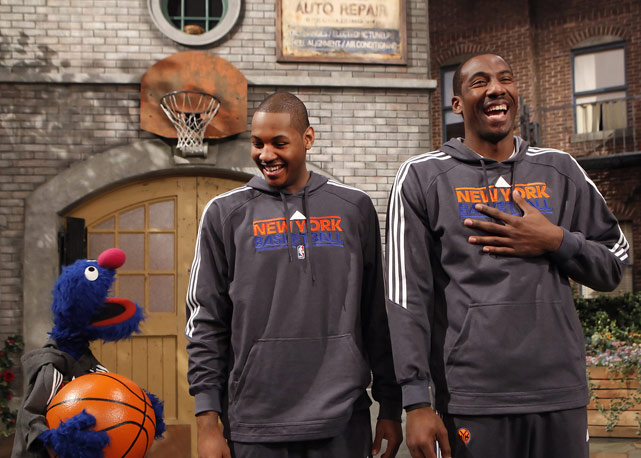 "Stoudemire and Knicks teammate Carmelo Anthony teamed up with Sesame Street on the set of ""Saturday Night Live."""