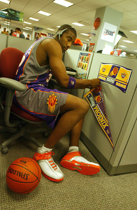Stoudemire takes a break on set during the filming of a new NBA League Pass promo in 2003 at the NBA Entertaiment Offices in Secaucus, N.J.