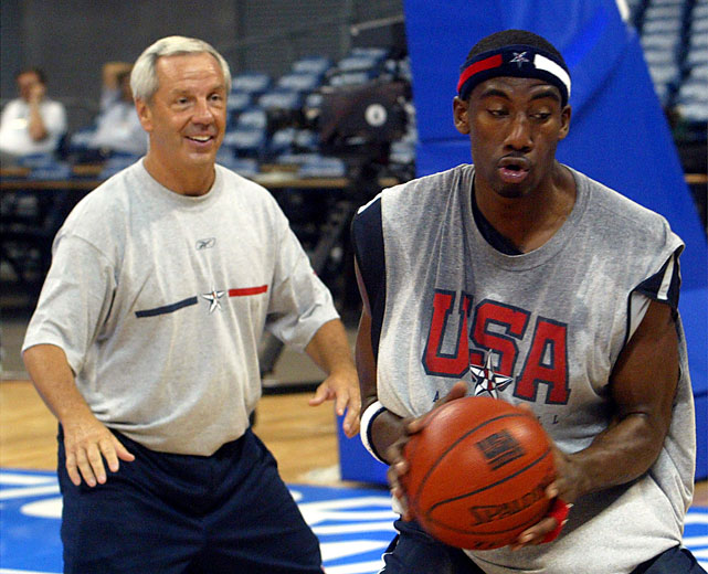 "UNC coach and Team USA assistant Roy Williams worked with Stoudemire during a training session for the U.S. Olympic team ahead of the 2004 Games in Athens. Team USA, dubbed the ""Nightmare Team"" that year, lost to Argentina in the semifinals and came away with just a bronze medal."