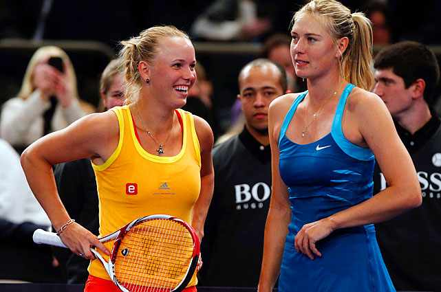 Wozniacki and Sharapova were pretty serious to start out, but the match got fun as it went on.
