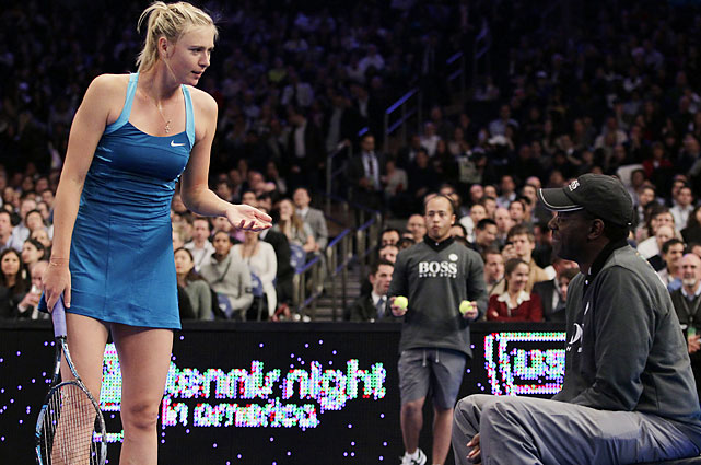 Sharapova also argued (in jest) with a line judge.