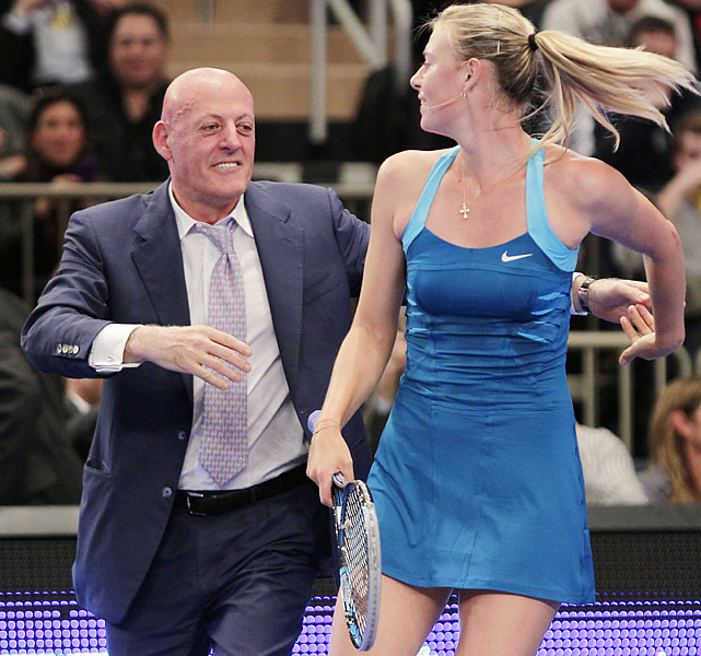 Don't be alarmed. Sharapova is dancing with a member of the audience in the second set.