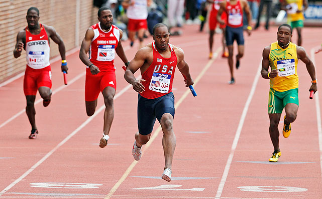 "Dix leaves the field behind on the final leg of the men's 4x100 relay, finishing with a time 38.40. ""This is definitely what they may see in London,"" Dix, who finished with a pair of bronze medals in 2008, said. ""I can't wait to get there."""