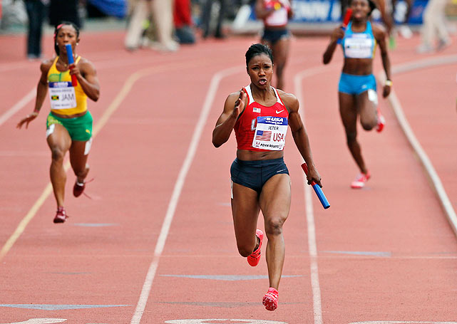 "Reigning 100-meter world champion Carmelita Jeter outpaces the field down the stretch during the women's world-record victory in the 4x100 relay. ""The U.S. is definitely ready for London,"" Jeter said. ""We're prepared. Now all we have to do is stay healthy."""