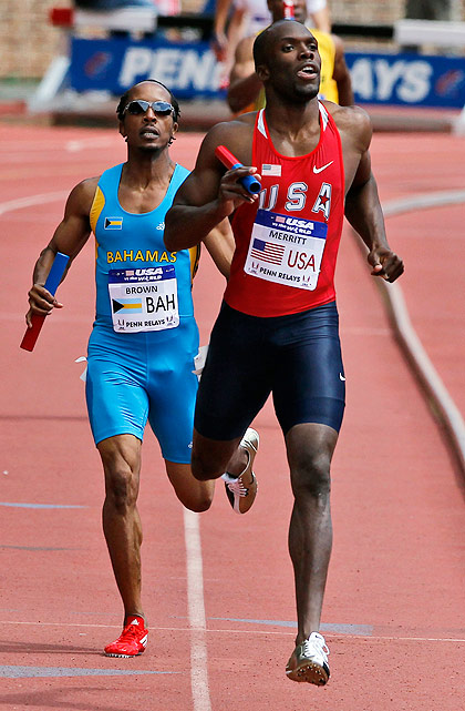 Showing no ill effects from his 21-month drug ban, Merritt anchors the men's 4x400 relay, finishing the final leg in 44.8 to help Team USA to victory.