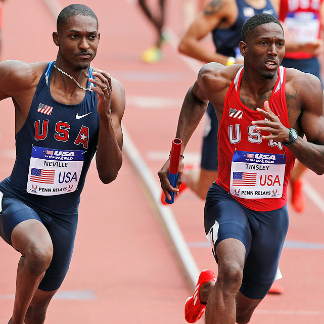"Fellow patriots Neville (left) and Tinsley jockey for position during the men's distance medley relay. Neville and Team USA Blue upset Team USA Red on the final lap when Leo Manzano overtook veteran Bernard Lagat. ""Any time you get a guy like Bernard,"" Manzano said, ""there is a little bit of satisfaction."""