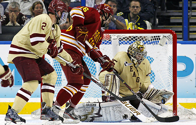 Garrett Thompson (center) got Ferris State on the board early in the first period with an even-strength goal.