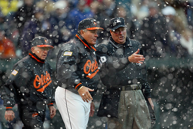 With a heavy snow falling, Orioles manager Mike Hargrove argues with home plate umpire Tim Welke after Gibbons' lost flyball.