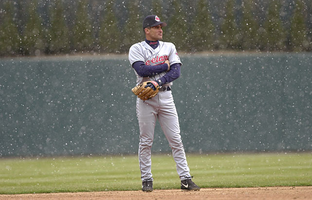 Indians shortstop Omar Vizquel tries to keep his throwing hand warm as snow falls on Comerica Park during a game against the Tigers.