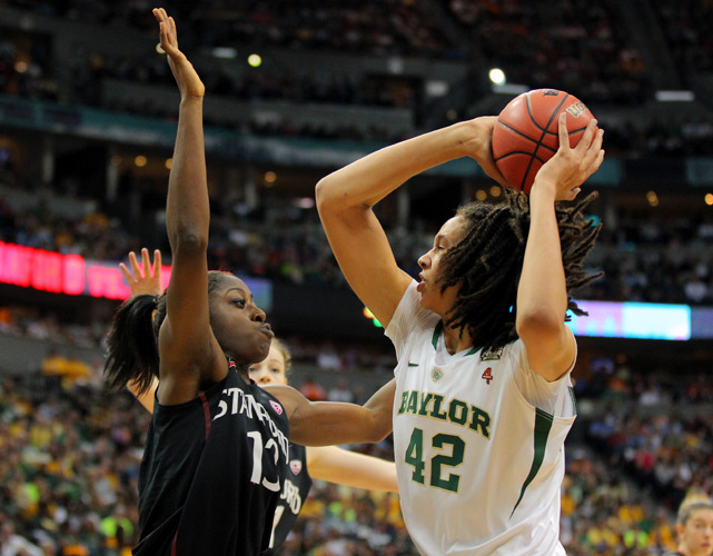 Brittany Griner and undefeated Baylor moved closer to a perfect season with a 59-47 victory over Stanford in the semifinals, advancing to play Notre Dame in the title game. With a win Tuesday, the Lady Bears would become the seventh team in history to put together an undefeated season.