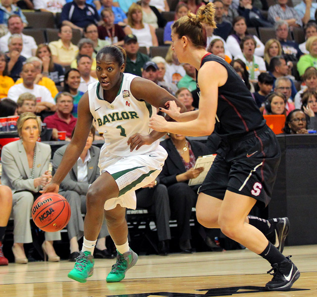Kimetria Hayden (left) scored six points and helped the Lady Bears snap the Cardinal's 32-game winning streak.