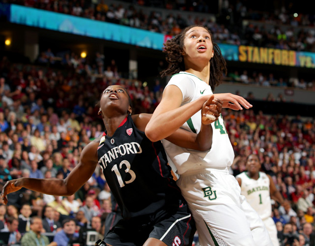 Brittney Griner (right) finished with 13 points, nine rebounds and two blocks in Baylor's semifinal victory.