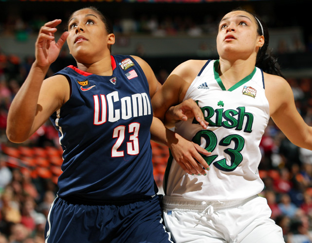 Kayla McBride (right) helped the Irish on the glass, pulling down six of her team's 43 rebounds.