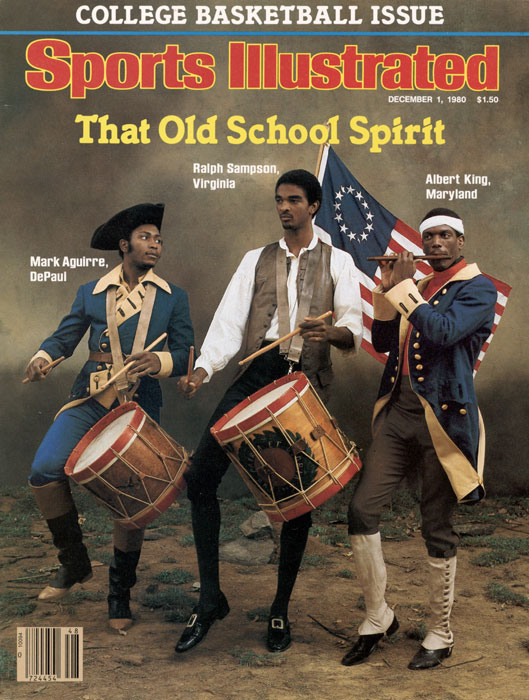 Sampson (middle) joins DePaul's Mark Aguirre and Maryland's Albert King in donning Revolutionary War clothing for a 1980 SI photo shoot.