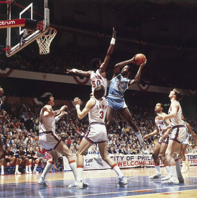 North Carolina forward James Worthy drives to the basket on Sampson during the 1981 Final Four.