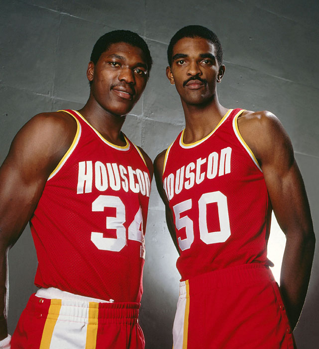 A year after Sampson was taken first overall, the Rockets again chose a big man with the top pick. The team selected Houston's Hakeem Olajuwon and the two (nicknamed The Twin Towers) quickly became one of the most imposing frontlines in the NBA.