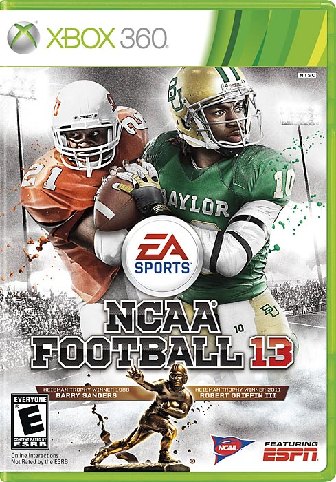 Following another EA fan poll, running back Barry Sanders joins Robert Griffin III on the cover of NCAA Football 13. Many fans remember Sanders' Hall of Fame career in the NFL with the Detroit Lions but he was also inducted into the college football Hall of Fame behind an impressive career at Oklahoma State. NCAA Football 13 is scheduled for a July 10 release on the Xbox 360 and PS3.