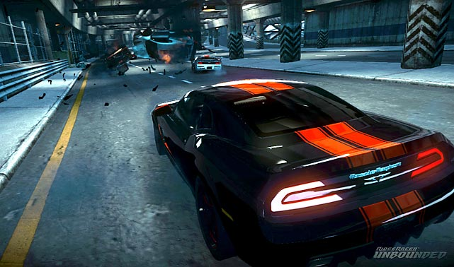 Ridge Racer Unbounded is set in the fictional city of Shatter Bay where you're left to race your way through nine urban districts consisting of seven races in each. The game features five different race types: domination, drift, time attack, frag attack and standard racing. Domination is the most compelling as it incorporates the best elements of the other modes. To advance and unlock more events you have to finish in the top three of each race. To do that you need master drifting which is used to fill up your power meter, which in turn is used for speed boosts, crashing out other cars, and to blast through targeted structures on the tracks. There are plenty of destructible items scattered around the tracks, so racing is frenetic and entertaining. The multiplayer modes are robust and the inclusion of a track builder adds a lot of replay value. The graphics are clean and crisp and the sound effects and music work well together to make Ridge Racer Unbounded a worthy game for racing fans.   Score: 9 out of 10