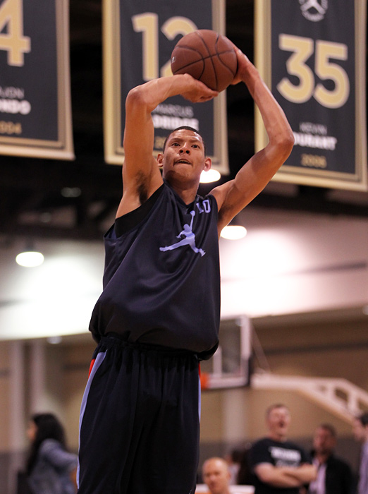 Baylor-bound center Isaiah Austin fires a jump shot during practice.