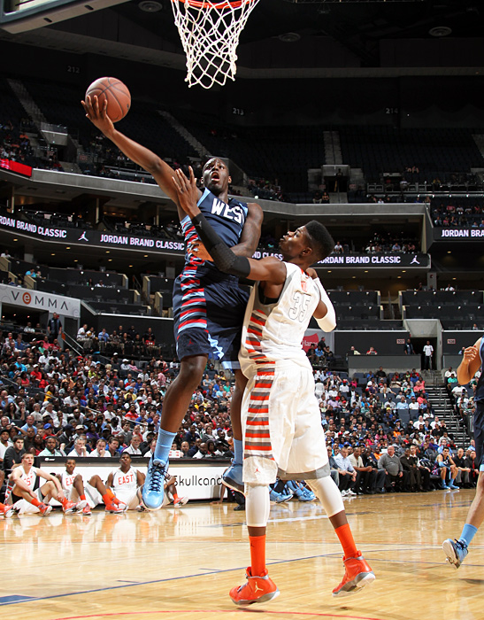 Findlay Prep (Nev.) standout Anthony Bennett soars over Nerlens Noel. The highest-ranked uncommitted prospect, Bennett is weighing offers to Kentucky, Florida, Oregon, UNLV and Washington.