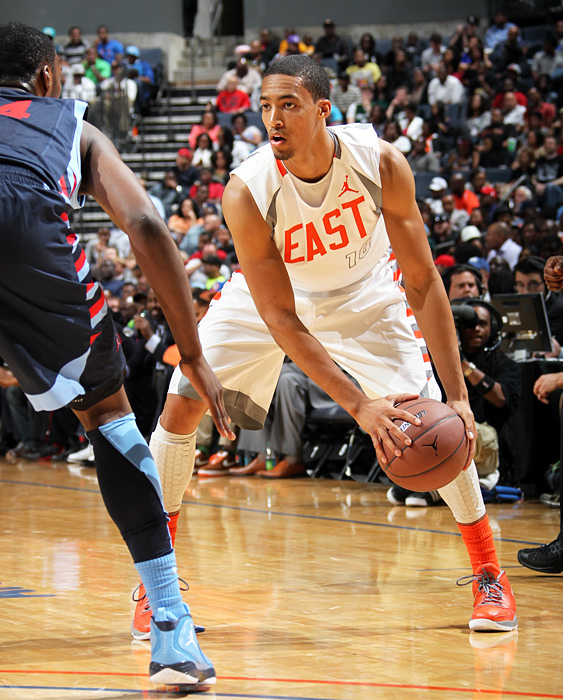 Tokoto sizes up his defender before driving to the basket. The UNC-bound forward finished with eight points in the contest.