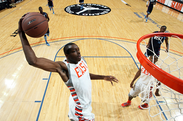 Power forward Jerami Grant skies for a slam. The Syracuse-bound big man netted 10 points for the East.