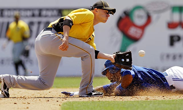 Pittsburgh Pirates shortstop Clint Barmes tags out Toronto Blue Jays DH Edwin Encarnacion on an attempted steal during a spring training game.
