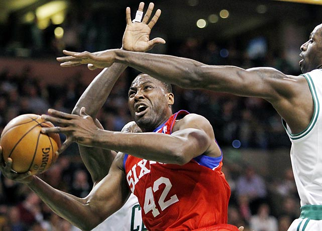 Elton Brand tries to get a shot up during the third quarter of Sunday's Celtics-76ers matchup. Boston would go on to win 103-79.