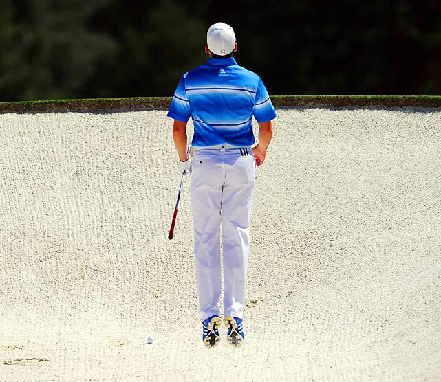 Spanish golfer Sergio Garcia sizes up his prospects after hitting a sand trap during the Masters at Augusta.