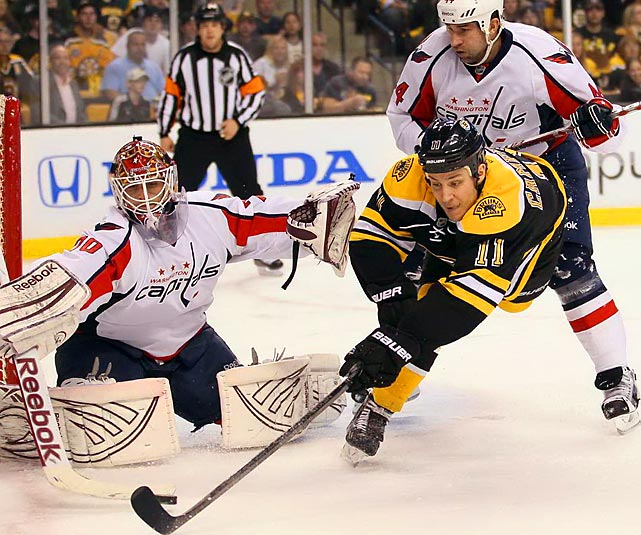 Boston Bruins Gregory Campbell tries unsuccessfully to put the puck past Washington Capital goalie Braden Holtby.