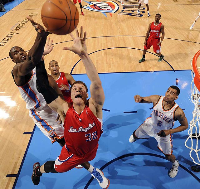 Blake Griffin leaps for the ball during a game against the Oklahoma City Thunder.