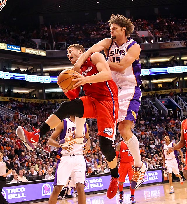 Blake Griffin and Robin Lopez collide during the Clippers-Suns matchup. Lopez was ejected from the game after apparently swiping at Griffin's head.