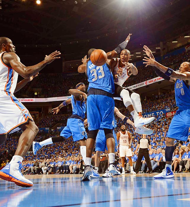 Russell Westbrook passes during the Thunder's game against the Mavericks in Chesapeake Energy Arena. Oklahoma City won 99-98 on a Kevin Durant jumper in the closing seconds.