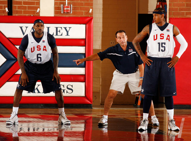 U.S. Men's Basketball Coach Mike Krzyzewski goes over defensive strategy with the duo during a July 2008 practice.