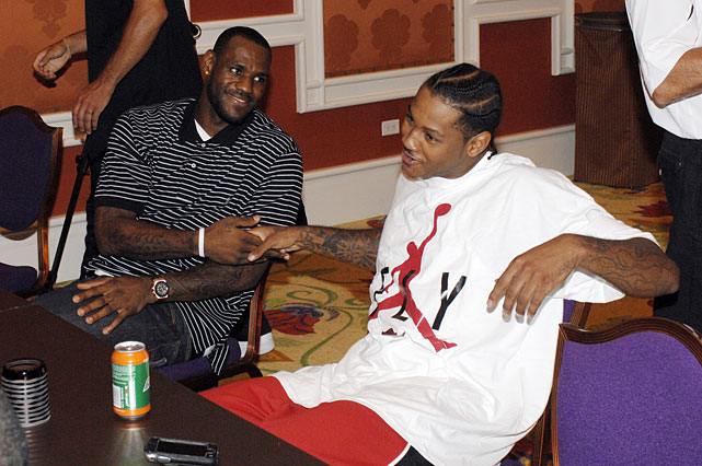 James and Anthony meet at the Wynn Hotel in Las Vegas at their first meeting during training camp for the 2008 Summer Olympics.