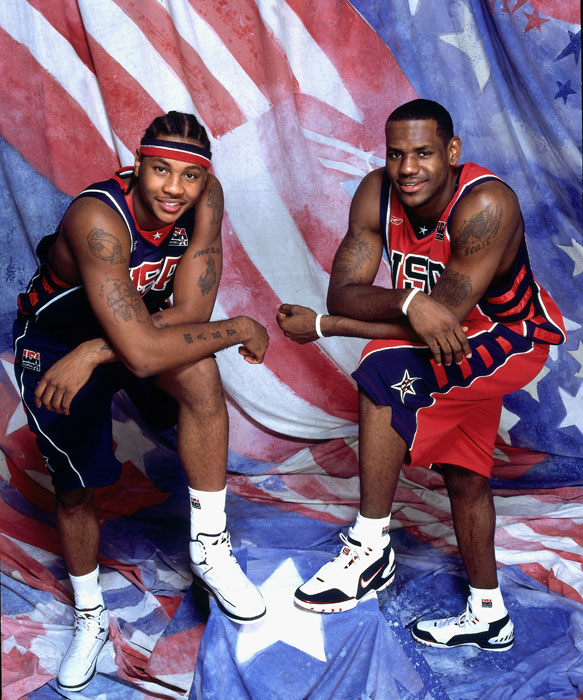 Anthony and James pose for a portrait at the University of Florida Arena prior to the 2004 Olympic Games.