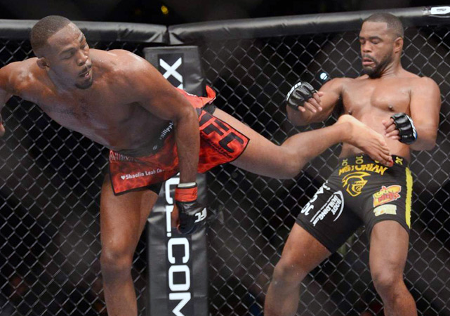 Jones attempted a number of spinning moves, including this kick. He also landed several blows with his knees and elbows.