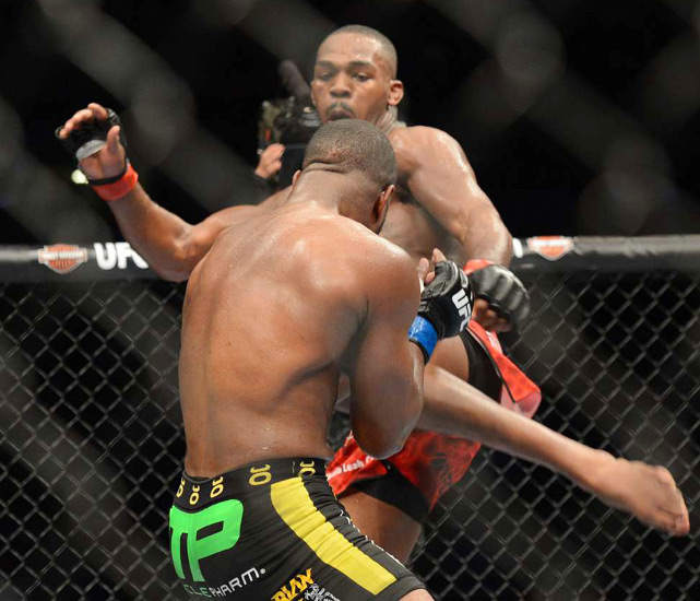 "In one of the most anticipated championship fights in UFC history, Jon Jones (kicking) defended his light heavyweight title with a unanimous decision victory over Rashad Evans at UFC 145 in Atlanta. Jones called the win over his former training partner ""the most satisfying win of his career."""