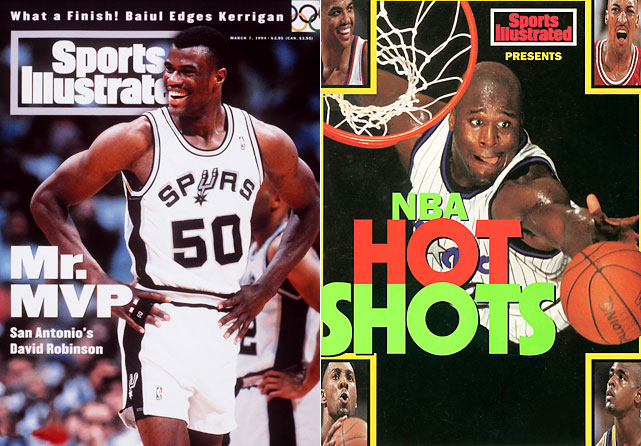 "To O'Neal's credit, he did win scoring titles in 1995 and 2000. But he came up on the wrong end of every close race in his career, the first of which came in his second season, when the Spurs and Magic both had games on the final day of the season. Robinson played first that day and entered with a four-point deficit. The Admiral erased it, as well as any doubt, with a career- and franchise-high 71 points (26-of-41 in 44 minutes) against the Clippers' formidable frontcourt of Elmore Spencer, Bob Martin and John Williams (not Hot Rod). No other Spur had more than eight points. O'Neal had 32 later that night against the Nets, giving Robinson the title, 29.79 to 29.35. ""I heard that no defense was played,"" O'Neal said of the Spurs' finale to the<italics> Associated Press</italics>. ""No triple teams occurred and they ran every play to [Robinson]. If that would happen down here, I would have 70 points, too."""