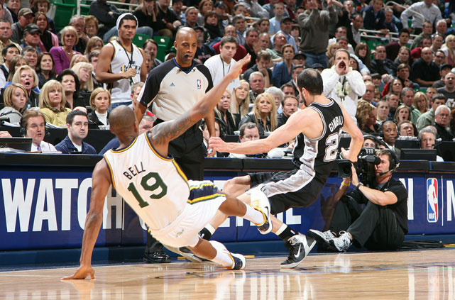 Bell and Ginobili have both mastered the art of flopping, so it was a real treat when they stepped it up and engaged in a  double  flop.
