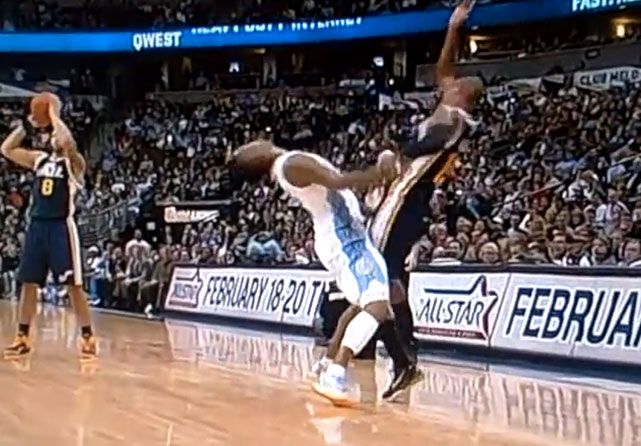 Another double flop, courtesy of Smith (then with the Nuggets) and, of course, Bell. We encourage you to  watch the clip in slo-mo . It's truly spectacular.